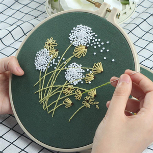 DIY Stamped Embroidery Starter Kit With Flowers Plants Pattern Embroidery Cloth Color Threads Tools Kit