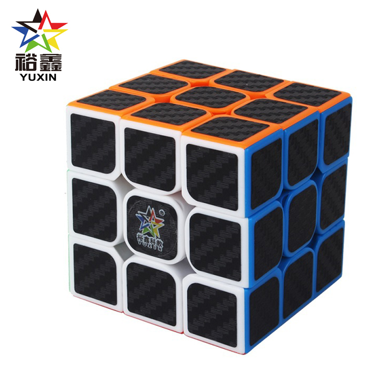 YUXIN Professtional Carbon Fiber Sticker 3x3x3 Magic Cube Speed Puzzle 3x3 Cube Educational Magico Cubo Toys Gifts 55mm