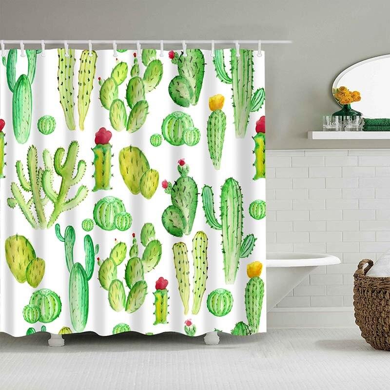 Тропический кактус, занавеска для душа, полиэфирная ткань, занавеска для ванной комнаты, украшения для ванной комнаты, мульти-размер, занавеска для душа с принтом s - Цвет: 20
