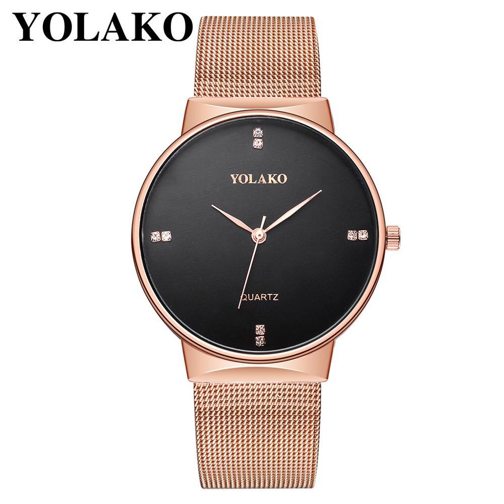 Watch Men 2019 YOLAKO Couple Watches Lovers Fashion Diamond Steel Men Quartz Watch Reloj Mujer Male Clock Watch For Women