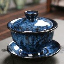 Chinese Tea Sets Gaiwan porcelain tea bowl Pottery blue and pink change kiln bowl creative Household porcelain teacup 200ml