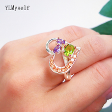 Silver and Rose 2 tone plate Lovely Ring Heart design Jewellery Multi Olivine CZ Jewelry Trendy rings Gifts