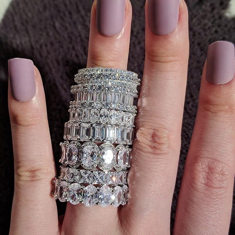 Bague de mariage de luxe, anneau d'éternité en argent 925 pour femme, beau cadeau pour dame, amour, vente en gros, lots de bijoux en vrac, R4577 3