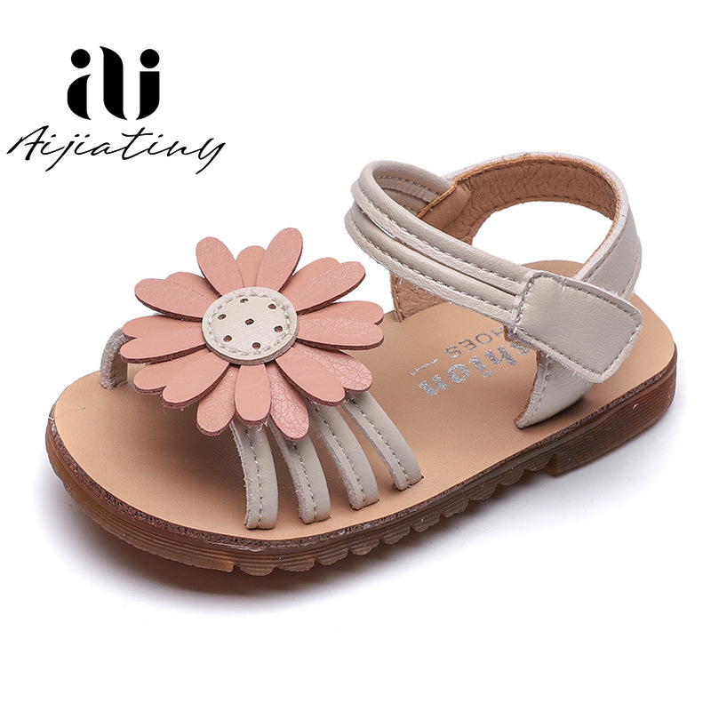 Children PU Leather Shoes Kids Shoes For Summer Princess Gladiator Dress Shoes Sandalias Baby Girls Sun Flowers Sandals