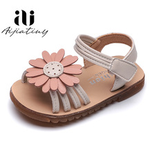 Children PU Leather Shoes Baby Girls Sun Flowers Sandals Kids