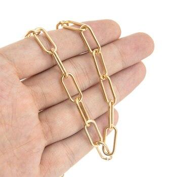 Cadena de cierre de acero inoxidable para joyería cadena ovalada larga de...
