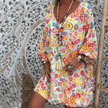 5XL Plus Size Dress women Loose Print Short Sleeve Mini Sundress Summer Dress Ruffle Boho Floral Print Vestidos Femme 1