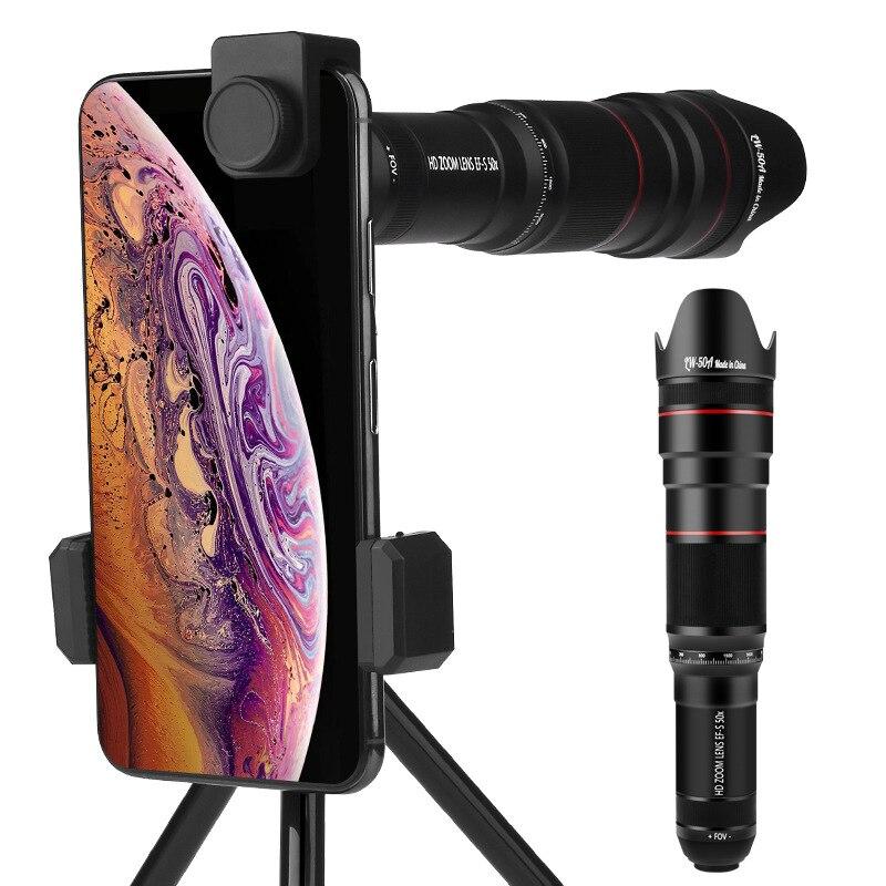 Discount 4K HD 50X Optical Zoom Phone Camera Lens Telephoto Lens Monocular Mobile Phone Lens Telescope for iPhone All Smartphones Lenses