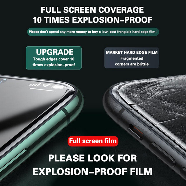 3PCS Full Cover Protective glass on For iPhone 11 12 Pro Max tempered Glass  On iPhone X XR XS Max Screen Protector Curved Edge