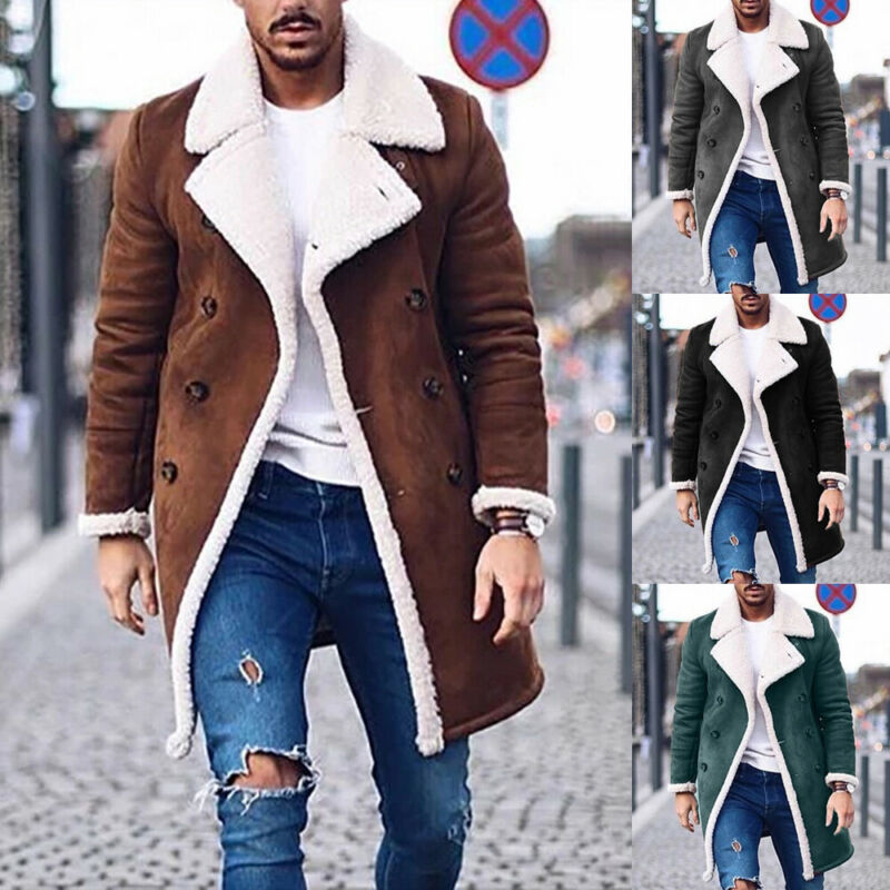 New Arrival Creative Fashion Men Trench Coat Warm Thicken Jacket Woolen Peacoat Long Overcoat Tops Men Faux Cashmere Coat