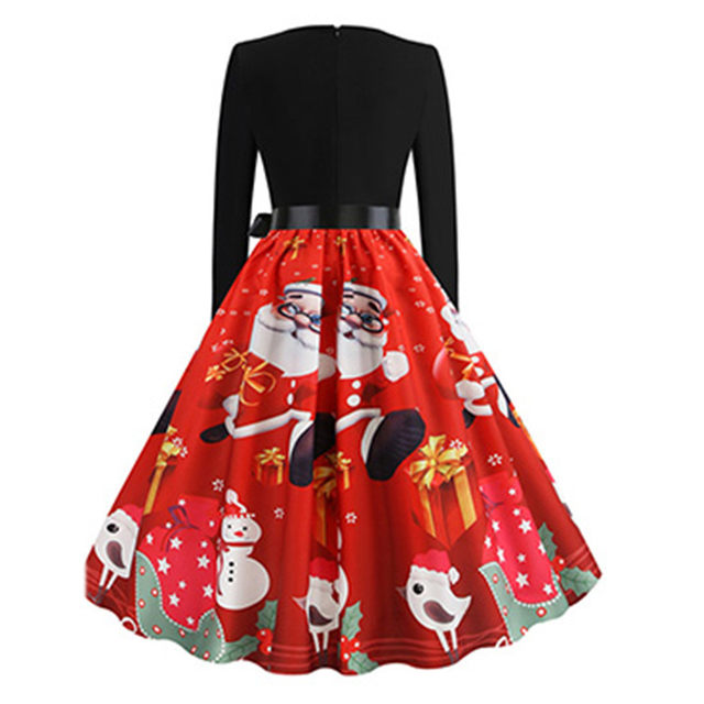 11 Color Vintage Dress Women Plus Size 3XL Sexy V-Neck Long Sleeve Christmas платье Bow Musical Note Print Flare Dress Wholesale 17