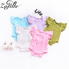 ZAFILLE Baby Girl Clothes Solid Baby Romper ropa de bebe Cotton Newborn Baby Clothes Infant Bodysuit Flare Sleeve Girls Clothing