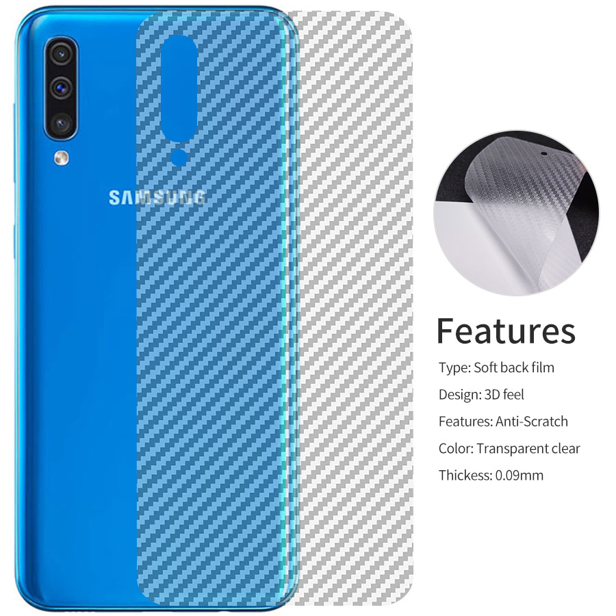 5Pcs 3D Clear Carbon Fiber Rear Screen Protector For Samsung Galaxy A50 A30 A20 A10 A40 A70 Back Cover Protective Film Not Glass