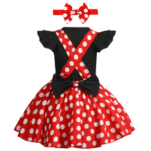 Для маленьких девочек; одежда для дня рождения костюм для Cake Smash в горошек Минни Маус, милая Минни нарядное платье комплект одежды для маленьких девочек опора