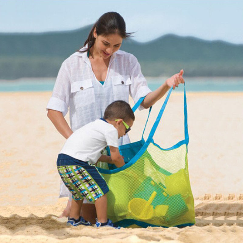 Beach Bags Portable Foldable Swimming Bag Kids Toys Mesh Storage Beach Park Children Toys Towel Clothes Organizer Outdoor