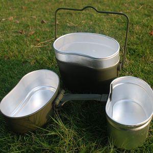 Image 3 - ドイツミリタリーグリーン3個で1キャンプ調理器具クックセットハイキングサバイバル弁当弁当箱ポット/ボウルwhosale & ドロップシップ