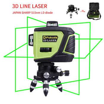 Fukuda Marke 12 Linien 3D MW-93T-3GX Laser Ebene Selbst Nivellierung 360 Horizontale Und Vertikale Kreuz Super Leistungsstarke GRÜN Laser strahl