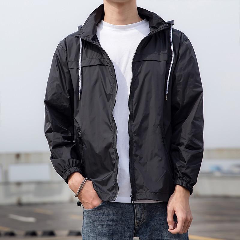 Summer Thin Jacket Men White Hooded Mens Windbreaker Detachable Hat Quick-drying Sunscreen Coat Male Outerwear Jackets for Men