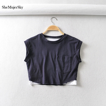 SheMujerSky Women Dark Blue Tops Summer O-neck Crop Top With