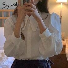 Syiwdii白ボタンアップシャツ2021春夏新作ビッグ指摘襟ロングパフスリーブ女性シャツカジュアル韓国女性トップス
