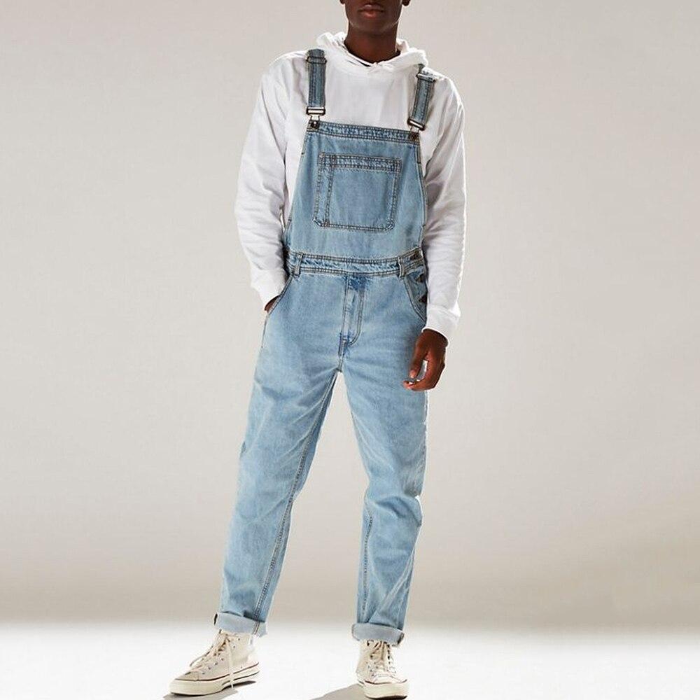 Men's Denim Bib Pants Washed Full Length Jeans Jumpsuits Hip Hop Straight Jean Overalls For Men Streetwear New Male Jumpsuit D25