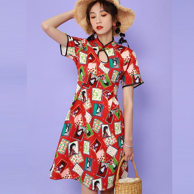 2019 Summer New Style WOMEN'S Dress Kimono GIRL'S Printed Literature And Art Short Sleeve Retro Mid-length Improved Cheongsam Dr