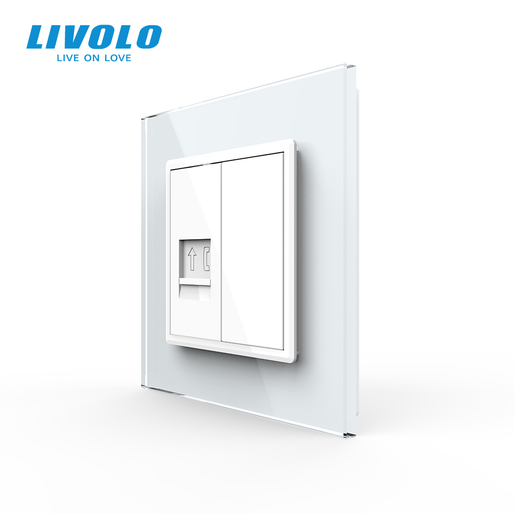 Livolo EU Standard Manufacture Telephone  Wall Outlet plug Socket Crystal Glass Panel tel plugs