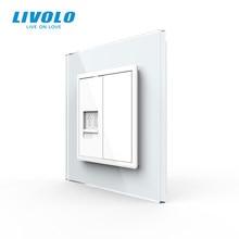 Livolo-enchufe de pared con Panel de cristal para teléfono móvil, enchufe de pared estándar europeo