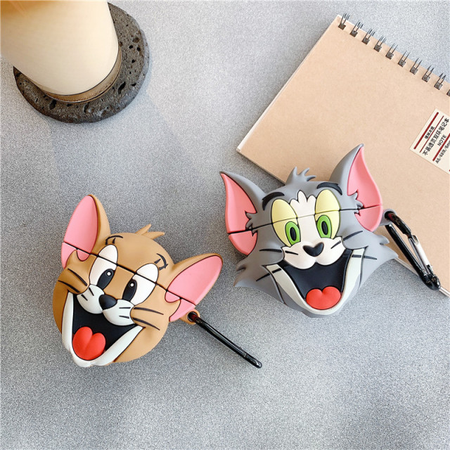 3D Cute Cartoon Tom Cat and Jerry Mouse Lovely Silicone Protection Earphone Accessories Cover Cases For Apple Airpods 1/2 Case