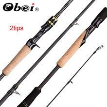 Obei elf fundição fiação pesca rod1.8 2.1 2.4m m/mh viagem isca de rua duas dicas haste rápida vara de pesca 13-39g