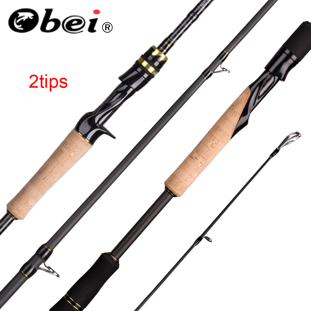 Obei Elf Casting Spinning Fishing Rod1.8  2.1 2.4m M/MH Travel Street Bait Double Tips Fast Rod Vara De Pesca 13-39g Fishing Rod