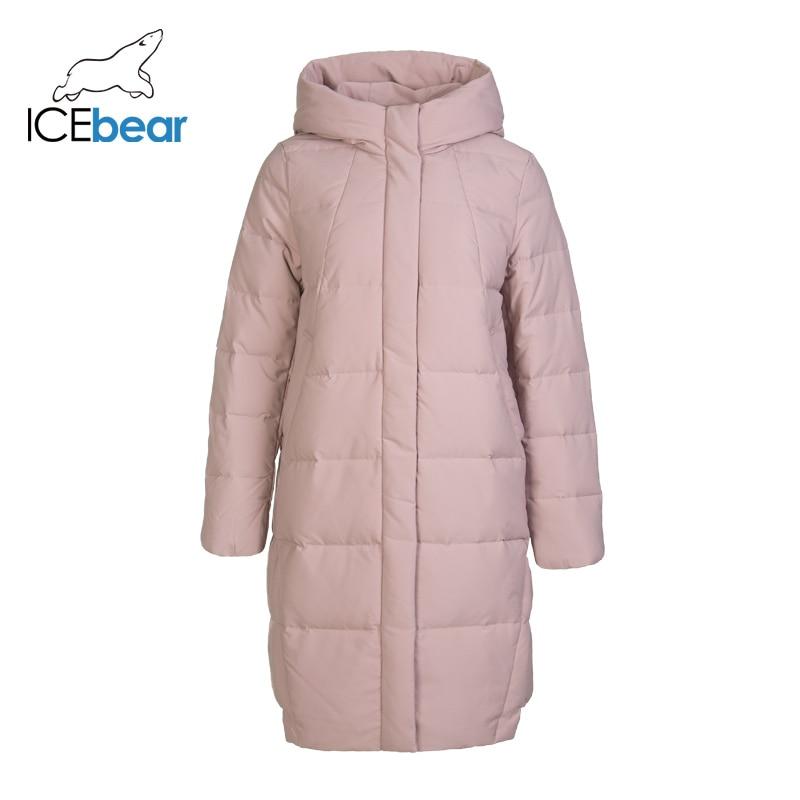 ICEbear 2019 New Winter Long Women's Down Coat Fashion Warm Ladies Jacket Hooded Brand Women's Clothing GN218123P