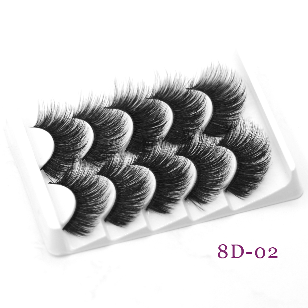 DamePapil 5 Pairs Hand Made Faux Mink Eyelashes 18-20mm Beauty Makeup Natural Soft Full Strip 3D/8D Fake Eye Lashes