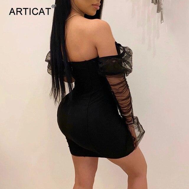 Articat Sexy Mesh Puff Sleeve Party Dress Women Low Collar Backless Patchwork Red Mini Dress Nightclub 2020 Spring Vestidos 4