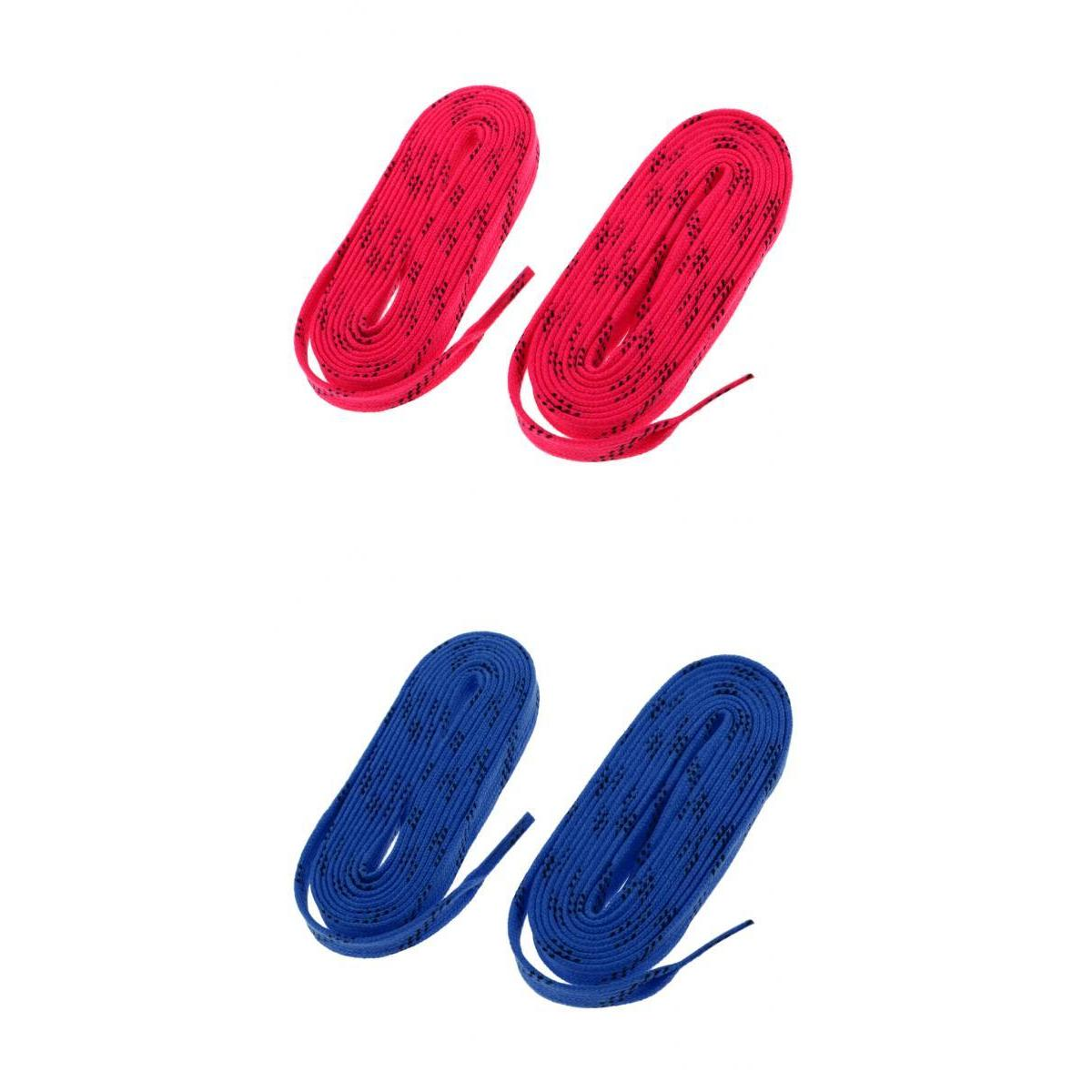 2 Pairs Ice Hockey Skate Flat Shoe Laces Shoelaces Replacement Red Blue
