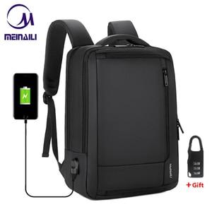 "Image 1 - 2019 Mens Anti theft 14 15.6"" inch Laptop Backpack USB Charging Waterproof Male Business Travel Back Pack  Boys School Bagpacks"