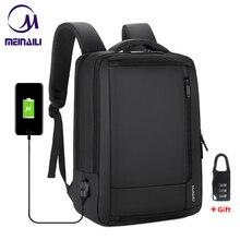 """2019 erkek anti hırsızlık 14 15.6 """"inç dizüstü bilgisayar sırt çantası USB şarj su geçirmez erkek iş seyahat sırt çantası erkek okul sırt çantaları"""