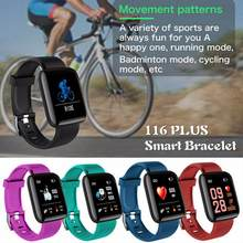 116 Plus Smart Bracelet Blood Pressure Measurement Waterproof Fitness Tracker Watch Heart Rate Monitor Pedometer Smart Band Men(China)