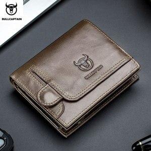 Image 1 - Кошелек BULLCAPTAIN мужской кожаный, бумажник без RFID сканирования, модный клатч с монетницей и кредитницей