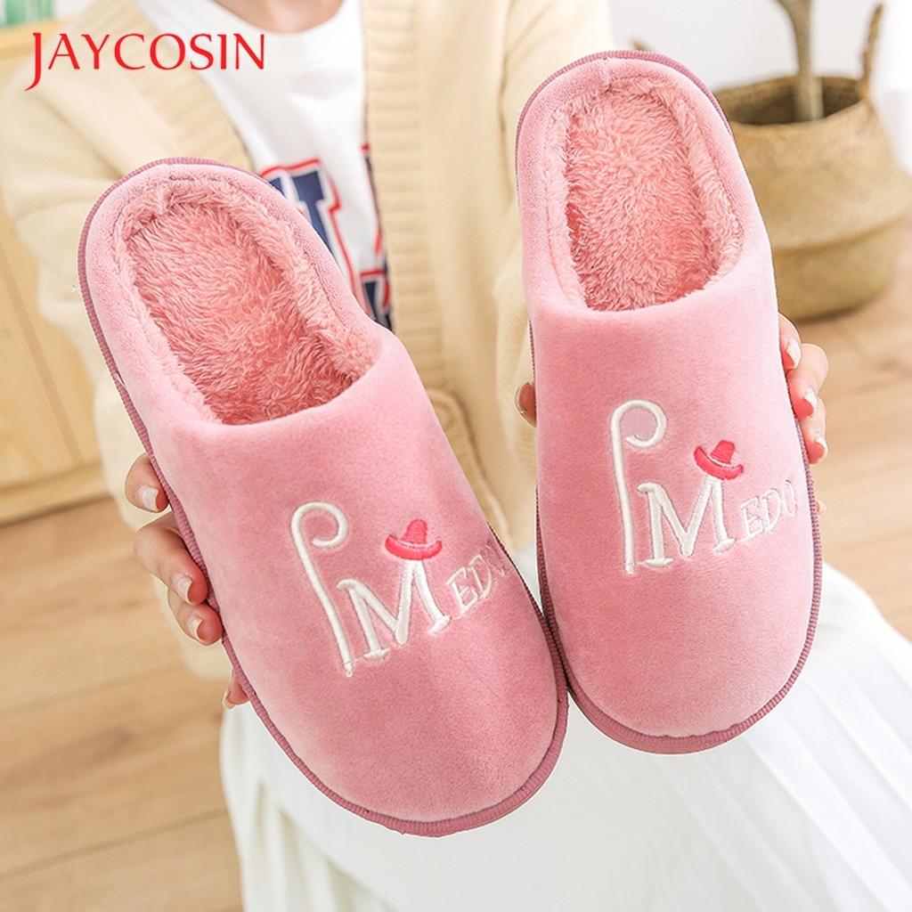 Jaycosin Home Slippers Women Men Couples Warm Slip On Anti-Skid Indoor Floor Slippers shoes woman winter shoes Indoor Slides 10 1
