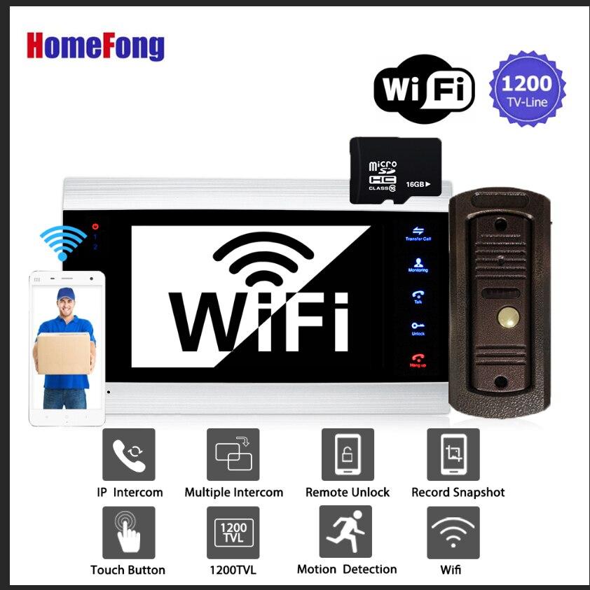 Homefong 7 Inch Smart Wifi Video Doorbell Intercom System Wireless Video Door Phone 1200TVL Motion Detection Unlock