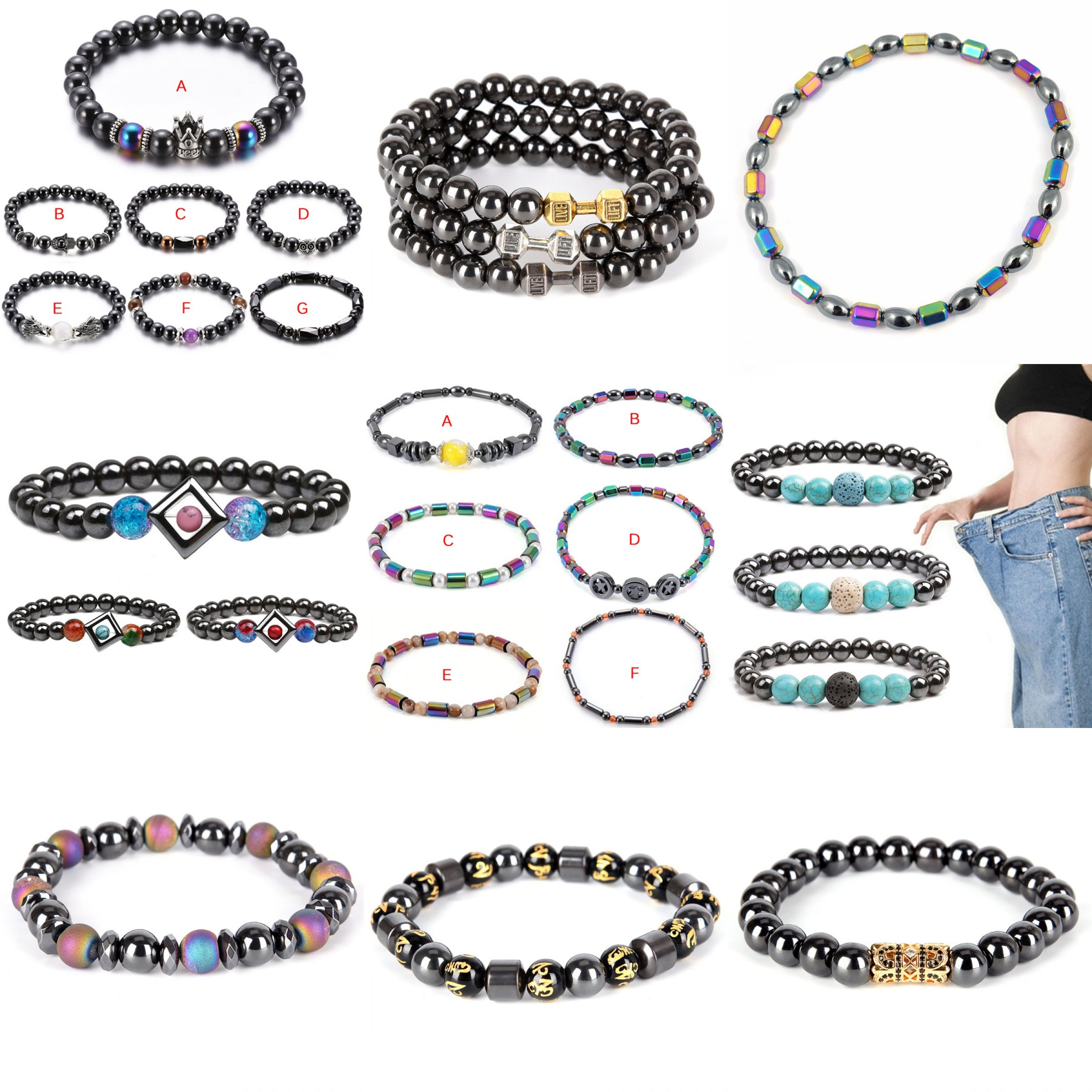 Bracelet Round Magnetic Stone Therapy