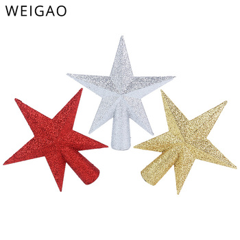 WEIGAO 1Pc Glitter Mini Star Christmas Tree Toppers Red Gold Silver Topper for Xmas Party Decor