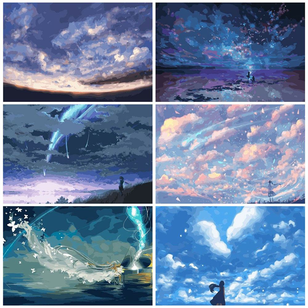 HUACAN Oil Painting By Numbers Sky Scenery Coloring By Numbers Landscape Paint Canvas Picture Girl Hand Painted Home Decor
