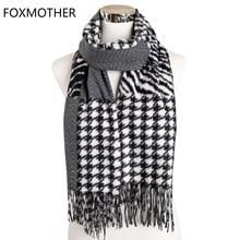 FOXMOTHER Winter Mujer Muffler Wave Zigzag Zebra Houndstooth Patchwork Scarf Cashmere Shawl Wraps Mens Women Pashminas Bufanda