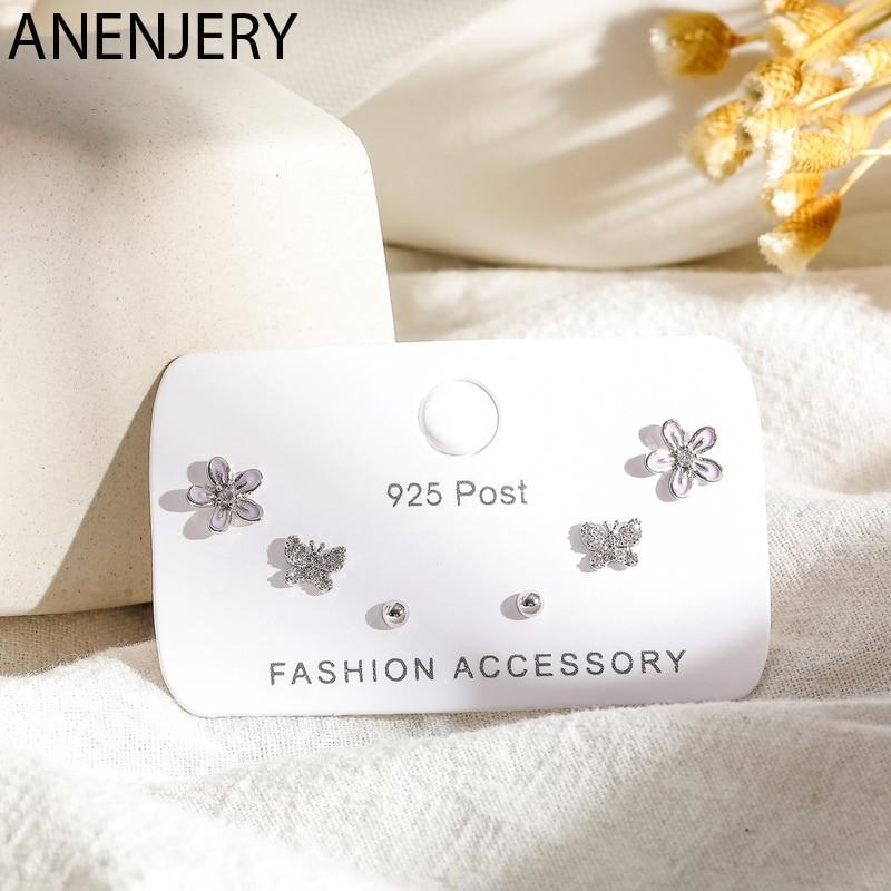 ANENJERY Süße 6-stück Ohrringe Set Silber Farbe Cubic Zirkon Schmetterling Blume Dot Ohrringe Für Frauen Geburtstag Geschenk SS-E1224