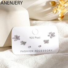 ANENJERY – ensemble de boucles d'oreilles pour femmes, 6 pièces, couleur argent, Zircon cubique, papillon, fleur, à pois, cadeau d'anniversaire