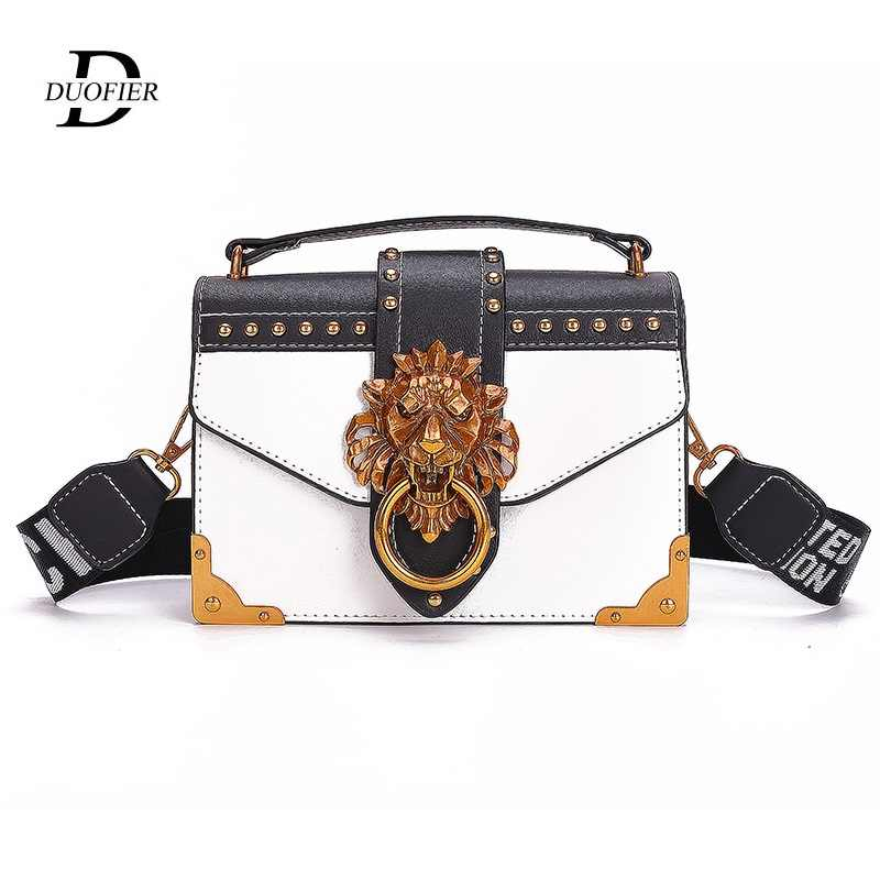 Fashion Metal Lion Head Mini Small Square Pack Shoulder Bag Crossbody Package Clutch 2019 Trend Women Designer Wallet Handbags