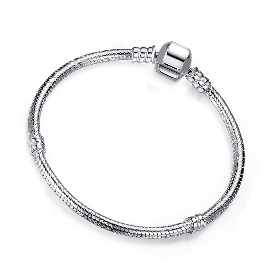 BAMOER Authentic 100% 925 Sterling Silver Snake Chain Bangle & Bracelet 17-20CM