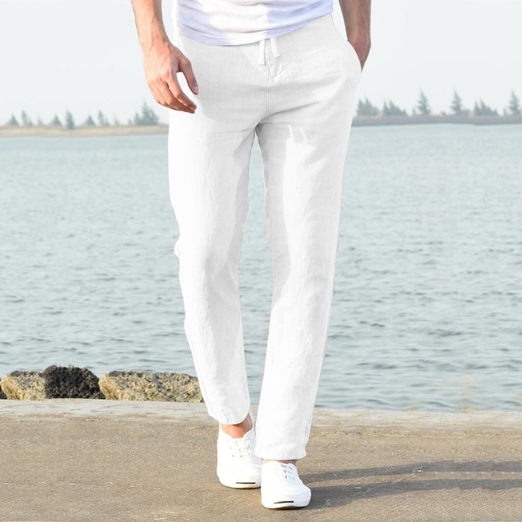 Ha13c89dfae0e4a5d9d96c24e1ea12a6eh Feitong Fashion Cotton Linen Pants Men Casual Work Solid White Elastic Waist Streetwear Long Pants Trousers